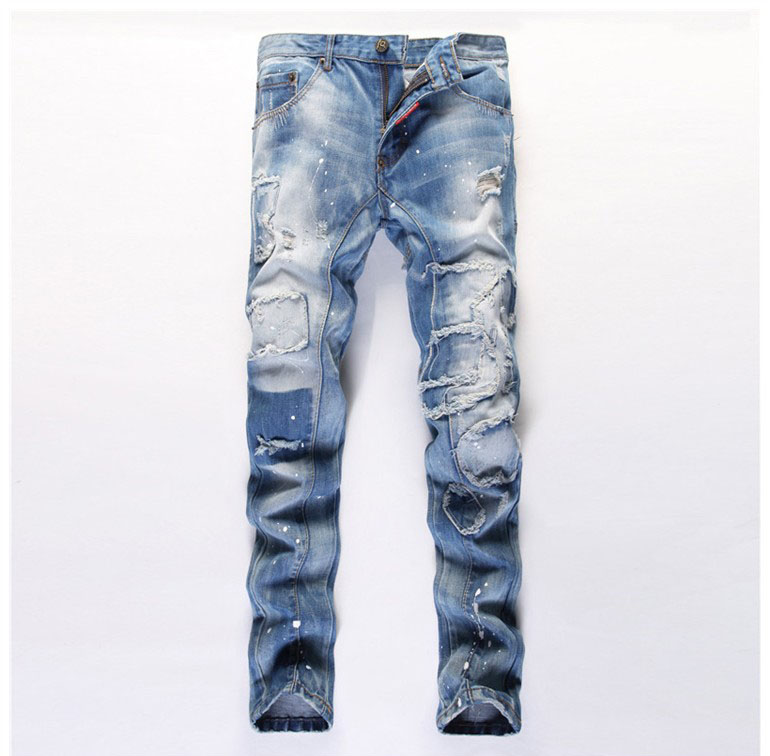 European American Style 2016 fashion brand men jeans luxury Men's denim trousers Slim Straight pop light blue hole jeans for men