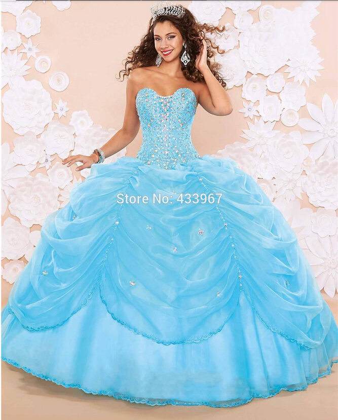 Aliexpress.com : Buy Sky Blue Organza Sweet 16 Dresses 2015 Custom ...