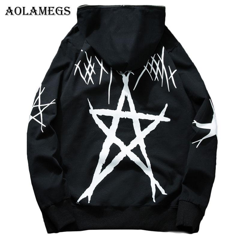 Aolamegs Hoodies Men Pentagram Print Hooded Pullover High Street Fashion Cotton Hip Hop Streetwear O-neck Hoodie Autumn 2018 New