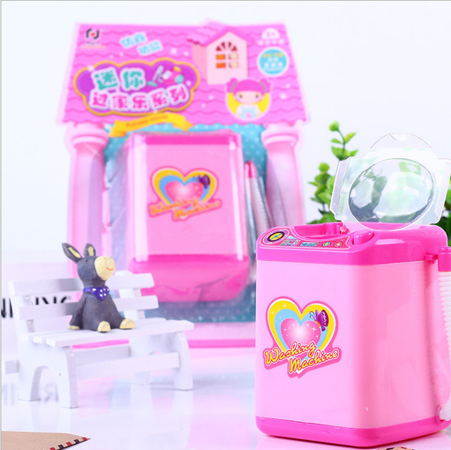 Play House Home Simulation Q Version Small Household Appliances Mini Washing Machine Toys Electric Children New Strange Toy Gift 5