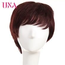 UNA Human Hair Wigs #6411 #99J Non-Remy Human Hair 150% Density Brazilian Straight Human Hair Wigs Non-Remy Brazilian Hair Wigs