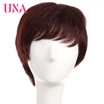 UNA Remy Brazilian Straight Human Hair Wigs #6411 120% Density Color #1 #1B #2 #4 #27 #30 #33 #99J #BUG #350 #2/33 Available una short remy human hair wigs 120% density peruvian straight machine wigs 6 1 1b 2 4 27 30 33 350 burg 99j