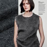 Knit Pure Wool Fabric Plush Wool Fabric Soft Fabric Dark Gray Color Fashion Fabric Sew For