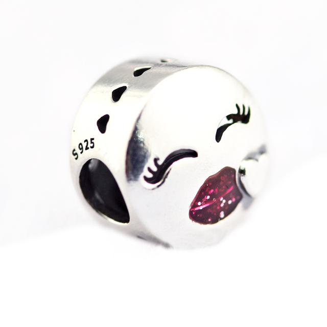 Kiss Charm Bead Fit Silver Charm Bracelet & Necklace 925 Silver Jewelry For Women Bracelet DIY Valentine's Gift