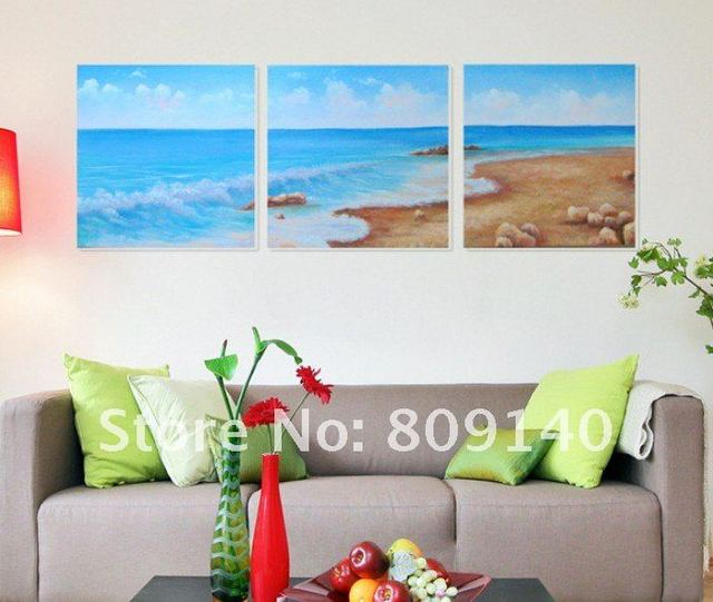 Free Shipping Oil Painting Blue Ocean Sea Beach Seascape Modern Home Office  Decoration Wall Art Decor