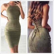 FREE SHIPPING 2018 Bodycon Suede Dress Backless Casual Red JKP981