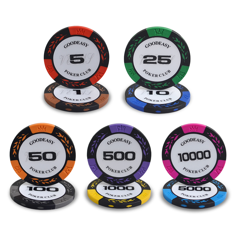 High quality 100PCS/Lot Wheat Design Casino Coins Texas Holdem Clay Poker Chips Baccarat Upscale Set Crown 14g Poker Chips
