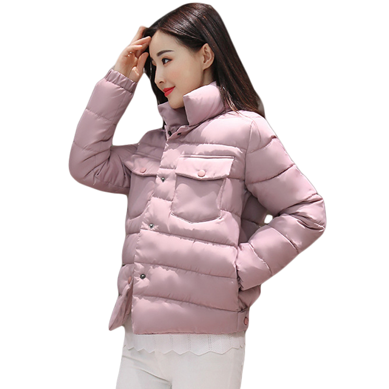 2017 Autumn Winter New Women Casual Thick Warm Stand Collar Padded Slim Down Cotton Coat Girls Short Jacket Parka Outwear CM1483 short style parka winter cotton down jacket for men korean big size l 4xl slim fit stand collar man casual coat homme grey e374