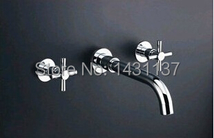 ФОТО High quality Luxury in-wall  Brass material Chrome  basin  Mixer with cross handles bathroom sink faucet