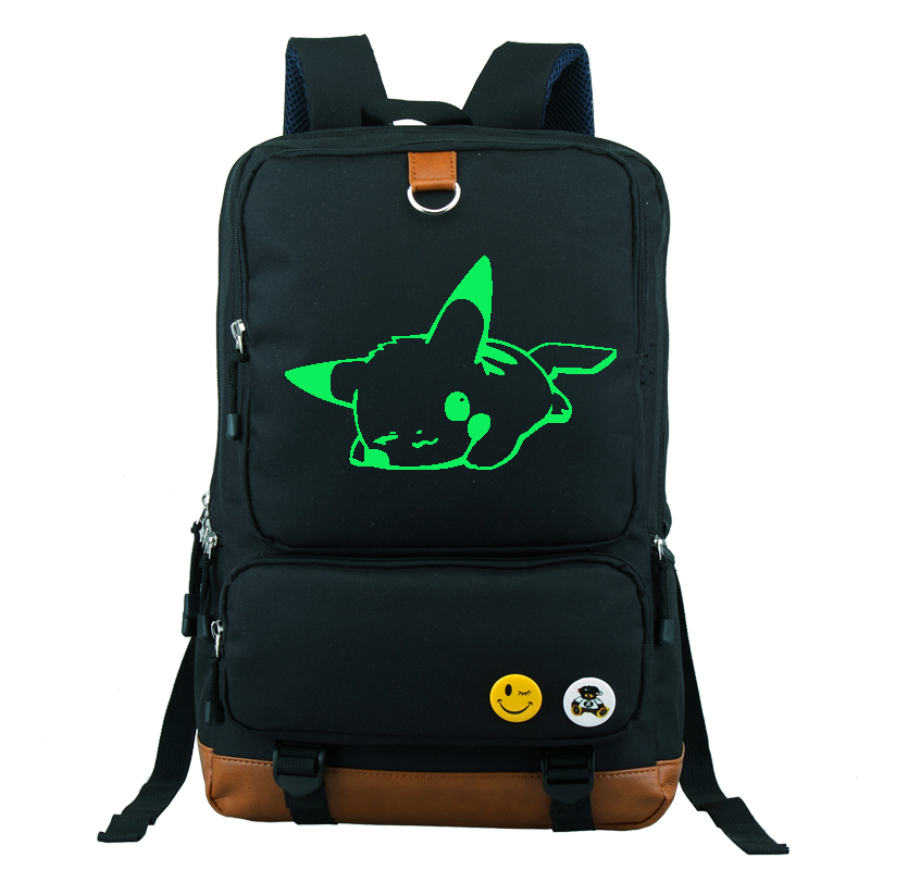 ФОТО Pokemon Go Sleeping Pikachu Printed Backpack School Bag Large Size 16 inch Laptop Bag Xmas Gift Can Glow in the dark