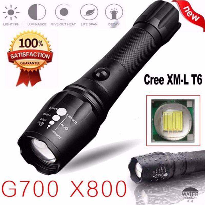 B2 Led Light G700 X800 5000LM T6 LED Zoom Flashlight Tactical Torch Zoom Lamp Super Light Camping & Hiking Wholesales&Retails