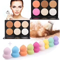 New 6 Colors Face Contour Powder Concealer Eyeshadow Blusher Makeup Palette + 1pcs Smooth Sponge Cosmetic Puff Beauty Set Kits