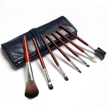 Sale! High Quality 7 Makeup Brushes Set Navy Blue Leather Bag Portable Makeup Brushes Tools Kit