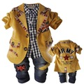 spring autumn British style letters casual Jacket suit + shirt  + Jeans / pants 3 piece sets Baby boy clothing set kids gift