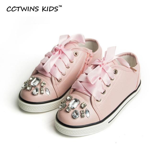 Cctwins kids primavera otoño blanco chico de zapatillas de moda de los planos de cuero de la pu zapatillas de deporte para las niñas princesa shoes rhinestone f438