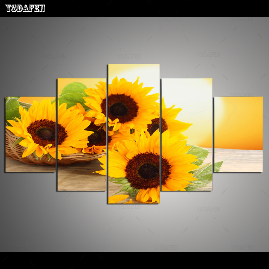 Modern Newest 5pcs Sunrise Landscape Wall Painting