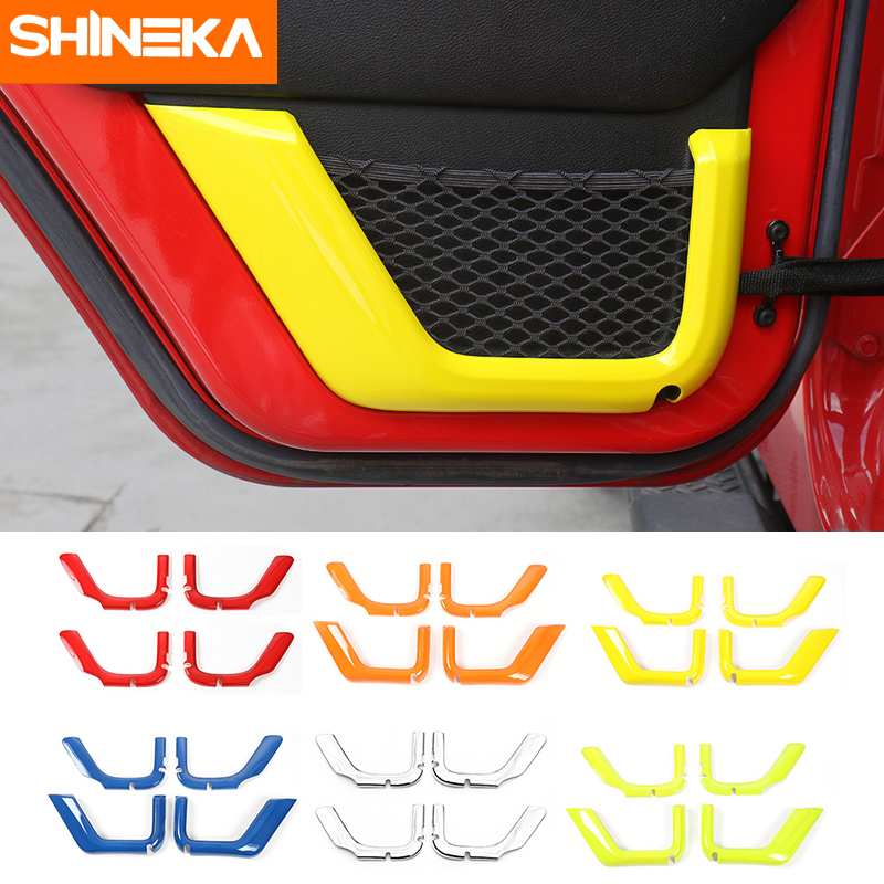 SHINEKA ABS 2 / 4 Door Car Interior Door Storage Net String Bag Decoration Cover Trim Fit for Jeep wrangler JK 2011-2016 shineka abs 4 colors auto door interior decoration trim for chevrolet camaro 2017 car styling accessories
