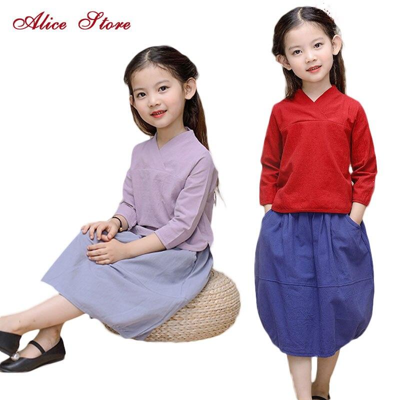 Conjuntos de ropa para niñas 2017 Nuevo estilo chino Algodón Color - Ropa de ninos