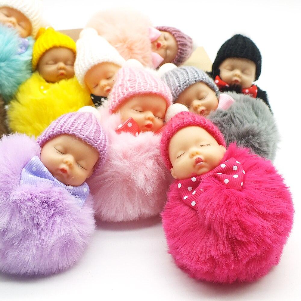 Zoeber Cute Sleeping Baby Doll Key Chain Faux Rabbit Fur Keychain Fluffy Pom Pom Pompom Bowknot Keyring Bag Trinket Women Gift