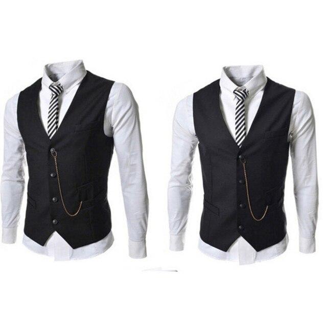 Fashion Elegant Men Suit Vest Autumn Casual Brand Men Black White Single Breasted Slim Fit Prom Waistcoat Men Clothes