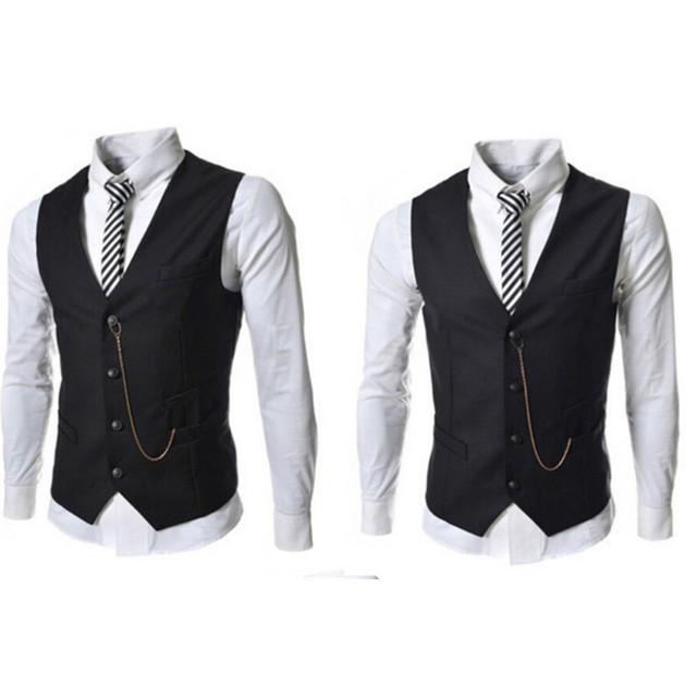 Moda Elegante Traje de Los Hombres Chaleco Ocasional Otoño Hombres de la Marca Negro Blanco de Un Solo Pecho Slim Fit Chaleco Hombres Ropa de Baile