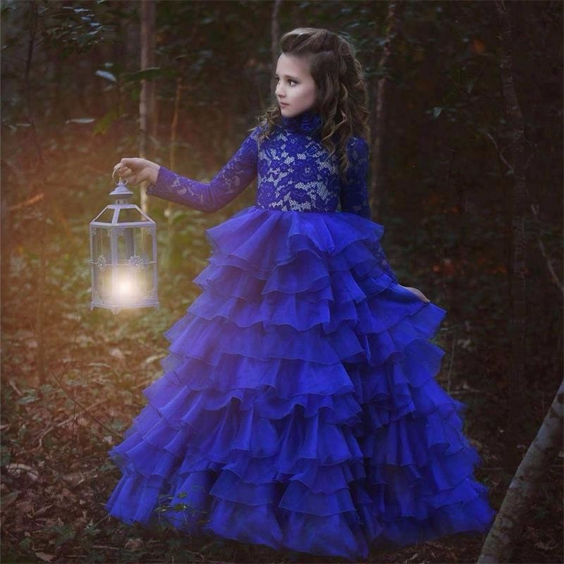 New Arrival Long Sleeve Ball Gown   Girls   Pageant   Dresses   High Neck Royal Blue Lace Tiers Organza   Flower     Girl     Dresses