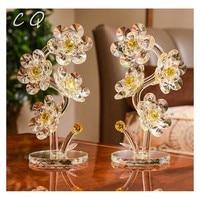 Exquisite Crystal Sunflower Figurines & Miniature Glass Flower Paperweight Unfading Bouquet Sculpture Ornament Wedding Decor