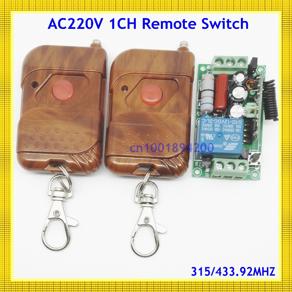 AC 220V 10A 1 Channel Wireless Relay Remote Control Switch RF Receiver 2Transmitter 315/433 LED Light Lamp Remote ON OFF Push Bu 220v ac 10a relay receiver transmitter light lamp led remote control switch power wireless on off key switch lock unlock 315433