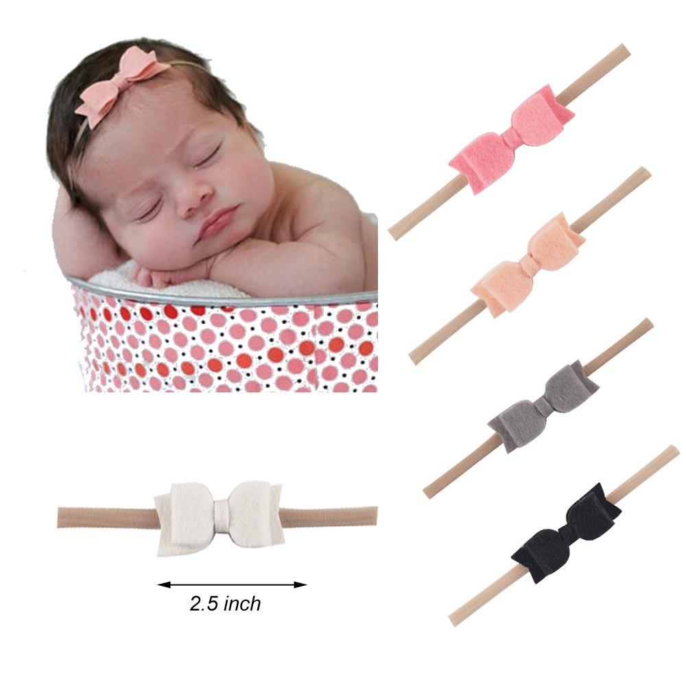 1set(5pcs) Children Solid Felt Hair Bow Headband Cute Elastic Nylon Headbands For Little Girl Handmade Headwear Hair Accessories 10pcs set nylon headband for baby girl hair accessories elastic head band kid children fashion headwear