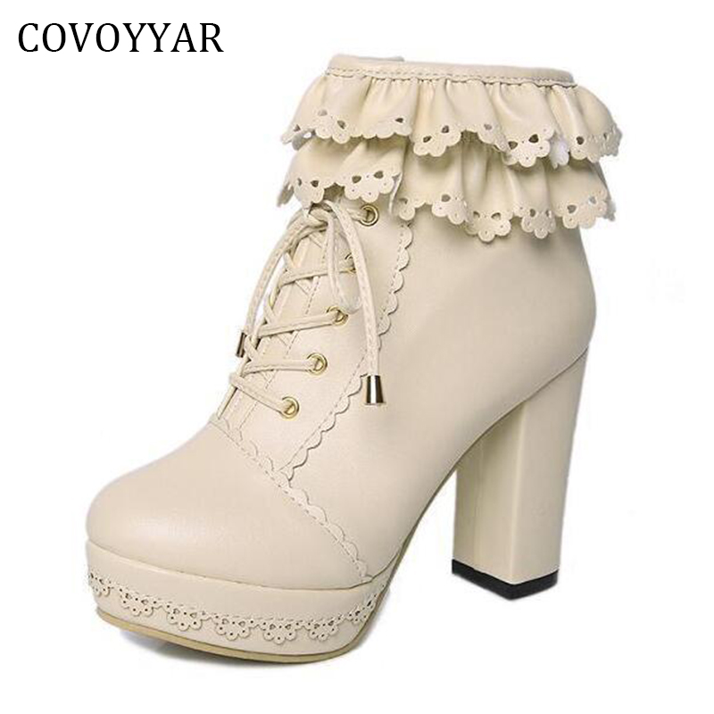 COVOYYAR 2017 Lolita Women Ankle Boots Autumn Winter Sweet Platform Thick Heel Lace Up Woman Shoes High Heels WBS332