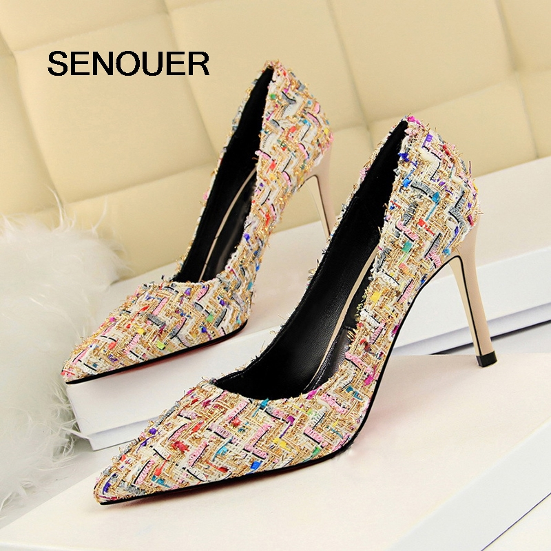 SENOUER Women Pumps Mixed Color High Heels Dress Shoes Women Colorful Pointed Toe Thin High Heel Party Shoes Women Small Size 34 kemekiss size 32 48 women point toe shoes high heels women pumps tassels thin heel shoes women sexy party club women footwears