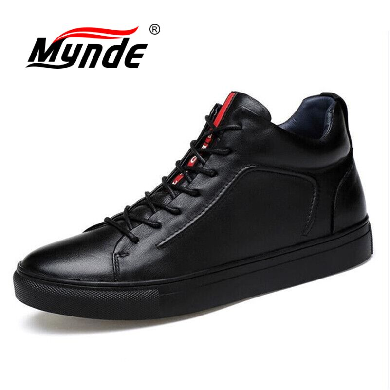 Mynde Big Size 36-48 Men Shoes High Quality Split Leather Men Ankle Boots Black Snow Boots Winter Men Boots Warm Shoes With Fur цены онлайн