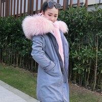 2019 long grey winter coat women winter jacket women parka fur coat biggest real raccoon fur collar parkas outerwear Detachable
