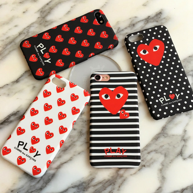 Fashion Brand Commes des Garcons Japan CDG PLAY Loving eyes Phone Case for iPhone X 8 7 6 6S Plus Luminou Cover