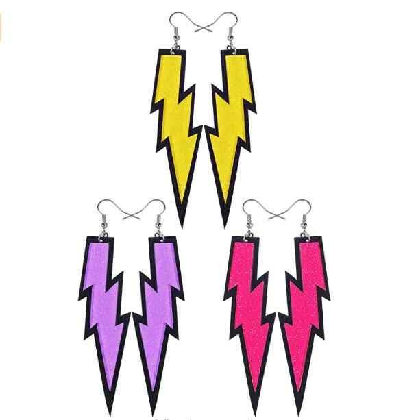 3 пары Женские Модные Ретро неоновые желтые ярко розовые фиолетовые серьги для 80 s