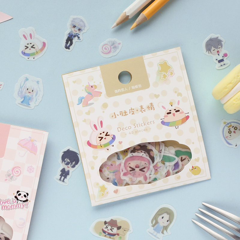 LoveFrom 40 Pcs/pack Kawaii Washi Paper Sticker Cartoon Adhesive Sticker For DIY Album Scrapbooking Decoration Dairy Stationery