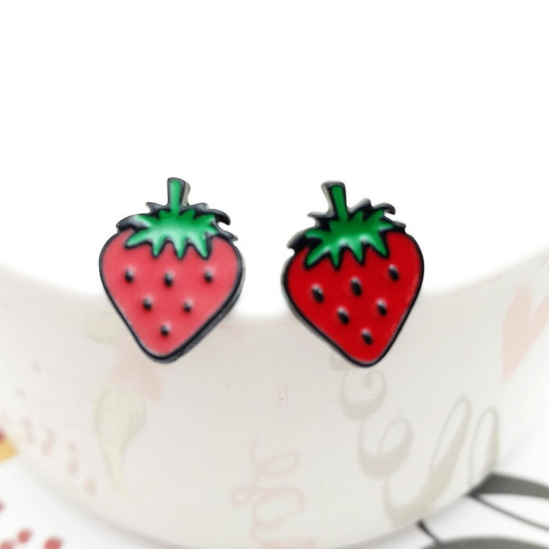 cute flocking form red case product trinkets girl protector little strawberry ring earring velvet storage earrings stud