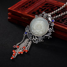 2018 Limited Top Fashion S925 Pure Antique Mosaic And Tian Yu Magpie Plum Blossom South Tassel Lady Pendant Wholesale(China)