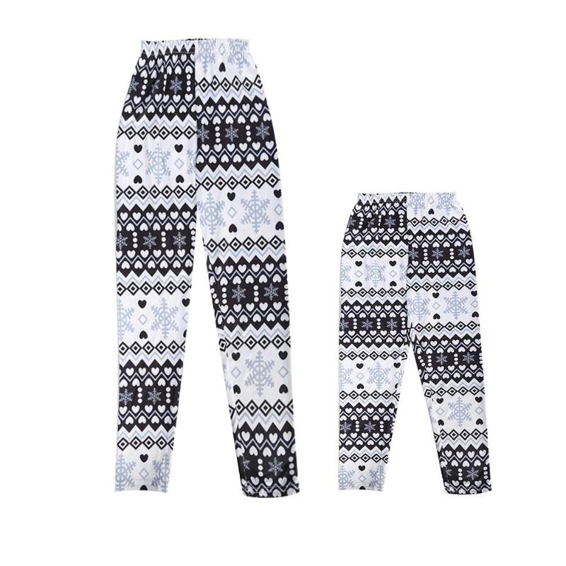 Mommy Baby Girl Snowflake Leggings Elastic Skinny Pants Winter Warm Parent Child Skinny Slim Legging Family Matching Outfits