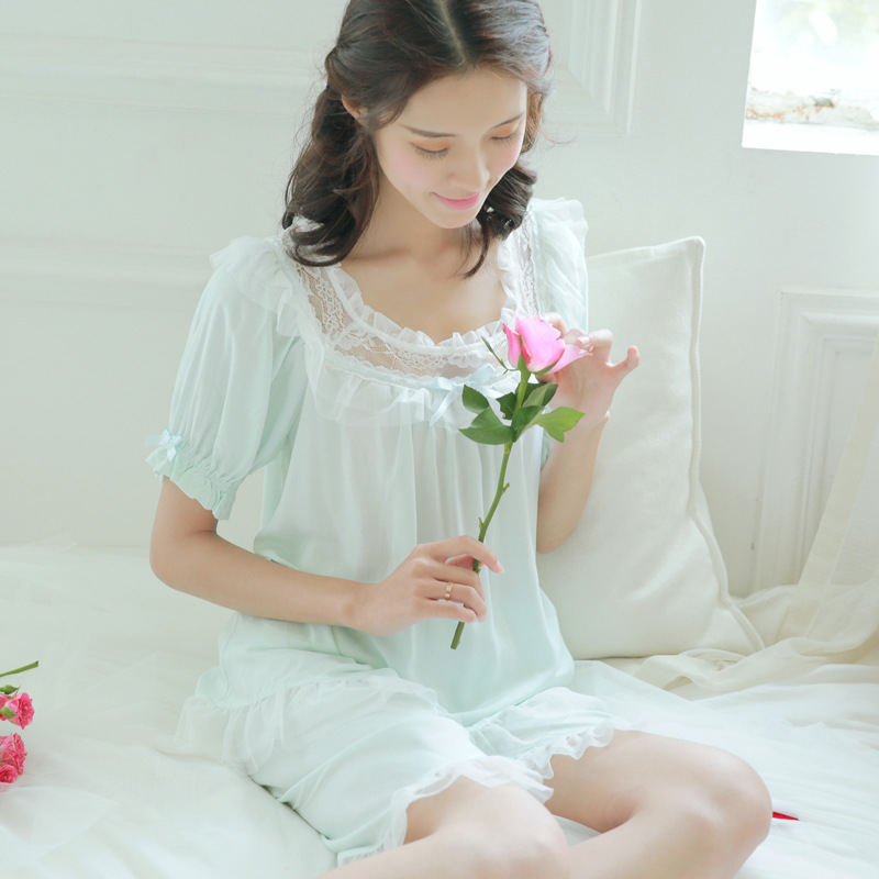 Women Summer Casual Breathable Lace cotton Princess   Pajamas     set   lady Piyama leisurewear Tops and Truousers Sleepwear   Set