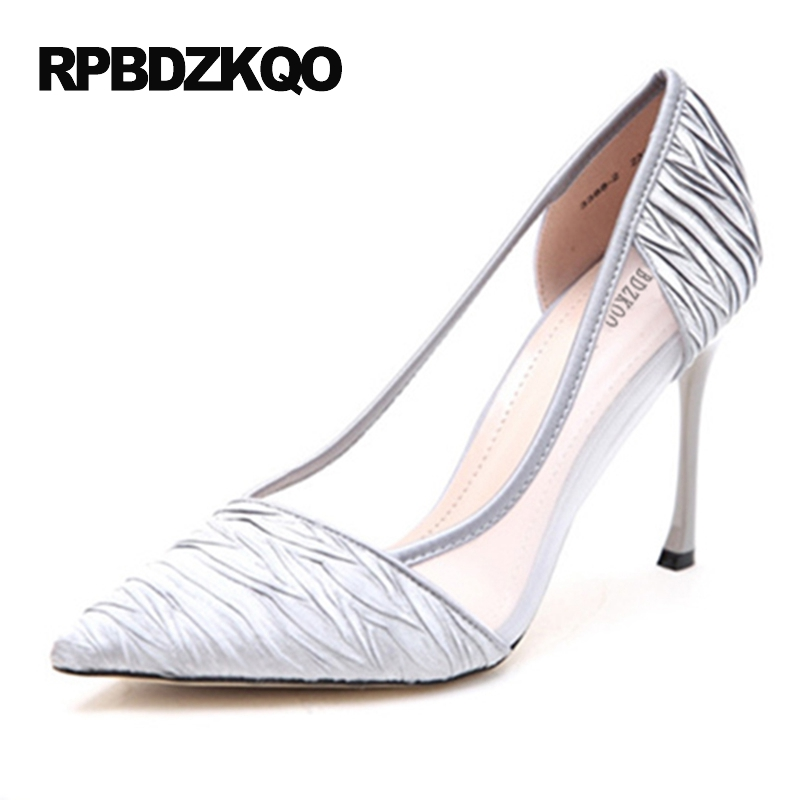 Pointed Toe Silver 2017 Mesh Pumps Thin High Heels Ladies Special Small Size Prom Shoes 4 34 Sexy Slip On Evening Adult Ceremony small size high heels sexy pumps 33 4 34 thin abnormal 2017 big 12 44 multi colored leopard shoes women pointed toe evening