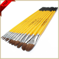 12pcs/lot High quality fangao weasel hair flat paint brushes set yellow wooden handle for Acrylic watercolor painting