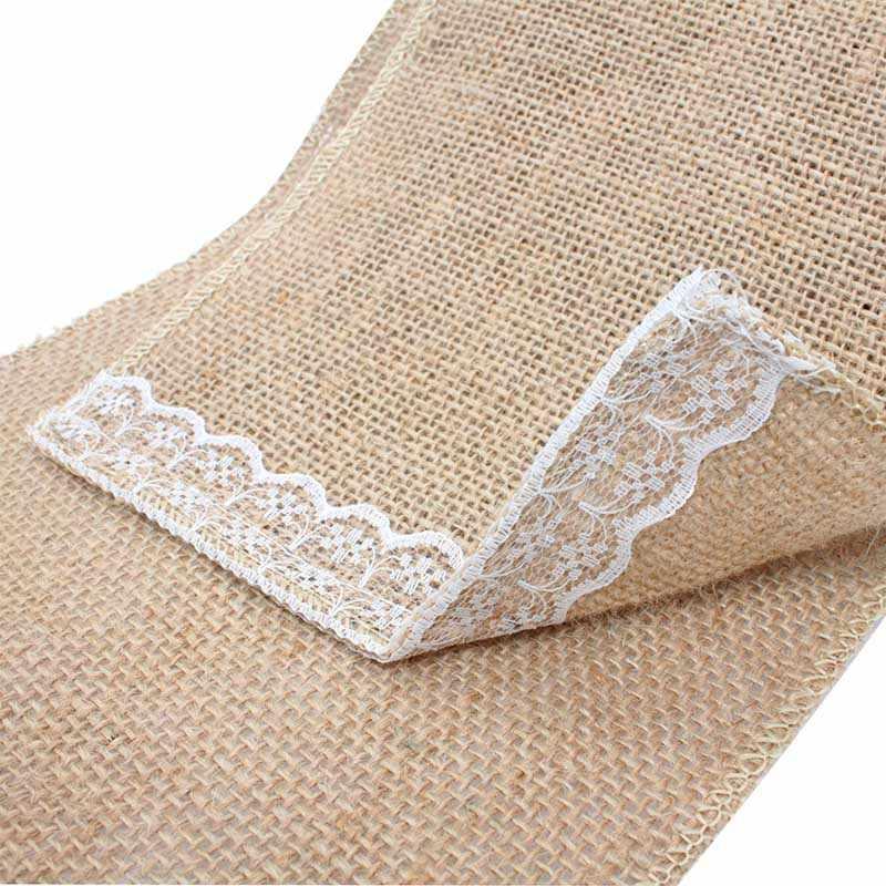 100 шт. естественно элегантный мешковины кружева стул пояса полосы Галстуки крышки поделки для деревенский Свадебная вечеринка стул банкета украшения