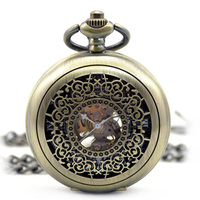New Steampunk Skeleton Mechanical Bronze Pocket Watch Men Vintage Hand Wind Clock Necklace Pocket & Fob Watches With Chain