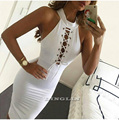 GZDL Summer Women Ladies Sexy Lace Up Club Sleeveless Skinny Stretch Bandage Bodycon Cocktail Pencil Solid Dress M L XL CL2425