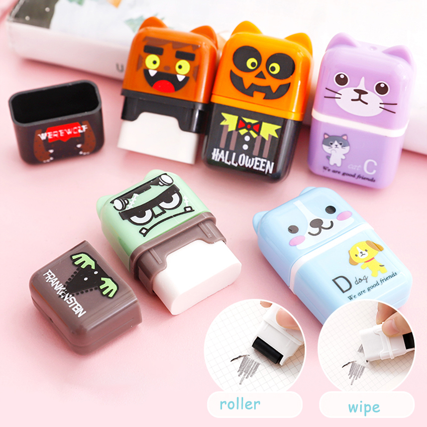 Novelty Roller Wheel Shaped Eraser Students Prize Office School Supplies Cute Cartoon Pencil Erasers For Wiping Children Toys