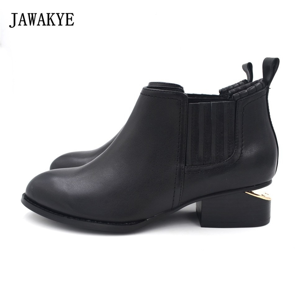 Women boots Genuine Leather Fashion Black Round Toe Slip on Square Low heel Ankle Boots JAWAKYE Metal Cut Out Heel Chelsea boots