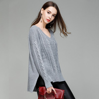 Knitted Sexy V Neck High Low Side Slit Sweater for Women Fall Winter Cute Ladies Asymmetrical Drop Shoulder Pullover Jumper