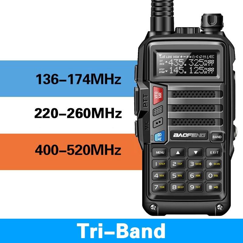 BaoFeng UV-S9 Tri-Band 8W Poderosa 2xAntenna 2xAntenna VHF UHF 136-174 Mhz/220 -260 Mhz/400-520 Mhz 10km Longo Alcance Presunto Portátil Rad