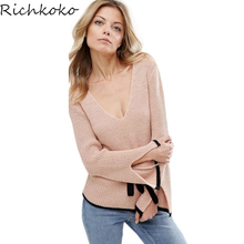 Richkoko Light Pink Women Sweet Tops V-neck Purity Cute Sweater Female Pagoda Flare Sleeve Jumpers Ladies Split Ends Sleeve
